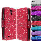 Bling Diamond Leather Wallet Flip Case Cover For SAMSUNG GALAXY S4 & S4 Mini