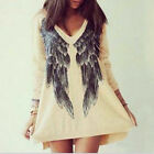 Women Angel Wings Printed Blouse Loose Oversized Long Top T-shirt Mini Dress Hot