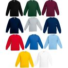 Kid Children Boy Girl Fruit of the Loom Classic Cotton Set-In Plain Sweatshirt