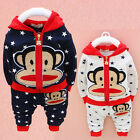 New Adorable baby boy's longsleeved Monkey Outfit set 2pcs tracksuit size6M-3yrs