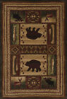 Brown Ivory Lodge Carpet Nature Bordered Paw Fish Boats Deer Bears Area Rug