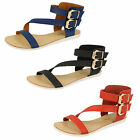 LADIES SYNTHETIC SAVANNAH FLAT SANDALS BLACK,RED & NAVY - F0866