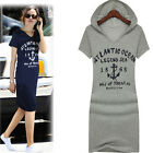 Womens Letter Print Slim Casual Hoodie Long T-Shirt Bodycon Dress PLUS SIZE 3XL