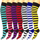 Womens Striped Over The Knee Socks Thigh High Ladies Long Fancy Dress Stocking