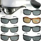 Polarized wraparound Sunglass Clip wear fit over eyeglass glasses 8371 w/ case