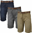 Mens Threadbare Fashion Belted 100% Cotton Summer Shorts Chino