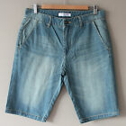 New Men's Washed Denim Shorts Jeans Vintage Blue SZ 31 32 33 34 36 37 38 39 40
