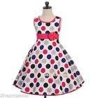 Trimmed Polka Dot Print Cotton Girl Party Holiday Summer Dress Age 4-5 Year #014