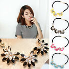 C8 US Womens Fashion Necklaces Flower Crystal Necklaces Pendants Retro Chain