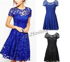 Women's Floral Lace Short Sleeve Cocktail Evening Party Casual Mini Dress NEW