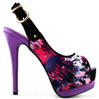 Multi Colored Pattern Peep Toe Slingback Stiletto Platform Pump Size 4 5 6 7 8 9