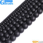 Round Natural Brazil Balck Agate Onyx Loose Beads Gemstone Strands 15' 4-25 mm