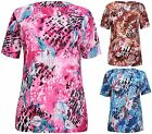 Womens Plus Size Floral Print Ladies Stretch Short Sleeve Long Tunic T-Shirt Top