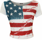 New Womens USA America Stars And Stripes Print Ladies Short Sleeve Crop Top 8-14