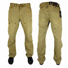 Mens Jeans VOI Visa New Tapered Fit Adjustable Waist Brown Chino Pants Trousers