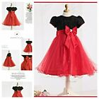 8018 Red Black Princess Wedding Dance Party Flower Girls Dresses AGE 2 to 10Year
