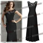 Womens Black Long Lace Prom Gown Evening Party Bridesmaid Cocktail Maxi Dresses