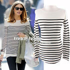 td1 Celebrity Style Trendy Scoop Neck Long Sleeve Striped 100% Cotton T-shirt