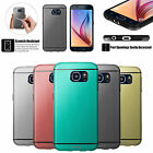 Brushed Aluminum Back TPU Edge Impact Resistant Case Cover for Samsung Galaxy S6