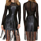 Rocking Tassel High Low Fringe Long Sleeve Faux Leather PU Party Cocktail Dress