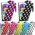 Polka Dots Flip Leather Case Cover Pouch For Samsung Galaxy Phones Various Model