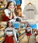 Casual Women Girls Loose Top Blouse Short Sleeve Letters Print Crew Neck T-shirt