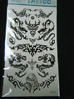 1 SHEET BLACK UNISEX CELTIC TRIBAL GOTHIC ARTY DESIGNS TEMPORARY TATTOOS PARTY