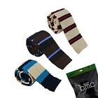 BMC Mens Crochet Knitted Square Flat End Fashion Neck Ties 3pc Collection
