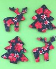 8 FLORAL WOODEN CHRISTMAS TREE REINDEER CARD MAKING CRAFT EMBELLISHMENTS