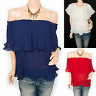 Vintage Chiffon Pleated Curves Off Shoulders Blouse Top