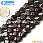 "Natural Garnet Gemstone Coin Flat Beads For Jewelry Making Strand 15""6mm 10mm"
