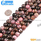 Natural Black Rhodonite Round Beads For Jewelry Making Free Shipping Strand 15""