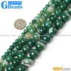 Natural Round Green Stripe Agate Beads For Jewelry Making Free Shipping 15""