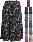 Womens Plus Size Spot Floral Print Ladies Tie Belt Flare Panel Skater Midi Skirt