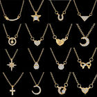 NEW HOT GOLD STAR CRYSTAL FASHION NECKLACE PENDANT CHARMING WOMEN HEART JEWELLRY