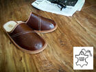 New Mens Brown 100% Natural Leather Slippers Size 7 8 9 10 11 12 Gift Present 42