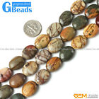 """Oval Gemstone Picasso Jasper Beads Strand 15""""Loose Beads Free Shipping"""