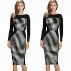 Womens Belted Wiggle Smart Pencil Shift Boat Neck Dress Long Sleeve Pencil Tunic