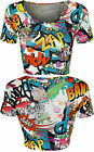 New Womens Comic Cartoon Graffiti Print Ladies Round Short Sleeve Crop Top 8-14