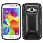 For SAMSUNG Galaxy Prevail Lte G360 BLACK HYBRID Stand CASE COVER + SCREEN FILM
