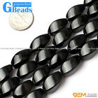 "Egg Twist Black Agate Beads Jewelry Making Gemstone Loose Beads 15""Free Shipping"