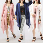 Asymmetric Summer Ladies Fashion Linen 1/2 Sleeve Sun Protection Shirt Thin Top