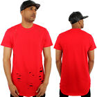 Kanye Terry Cotton Ripped Long Drop Hi Low Tail T-Shirt Streetwear Hip Hop Dance