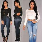 #gib Sexy Women Slim Back Zipper O-Neck Long Sleeve T-Shirt Crop Tops Blouse New