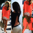 New Ladies Womens Sexy Summer Loose Casual Chiffon Backless T Shirt Blouse Tops