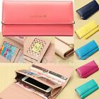 Lady Card Holder Flip Leather Money Wallet Long Handbag Purse Phone Case Cover
