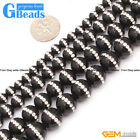Round Gemstone Black Agate With Rhinestones Loose Spacer Beads Strand 15""