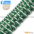 """Round Green Agate with Rhinestones Beads Strand 15""""Free Shipping"""