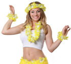 YELLOW 4 PIECE HAWAIIAN LEI SET FLOWER NECKLACE HEADBAND BRACELETS FANCY DRESS