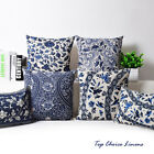 Home Decorative Oriental Blue Floral Linen Cushion Cover/Pillow Case